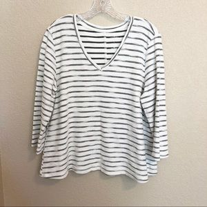 ST JOHN'S BAY Striped 3/4 Sleeve Boat Blouse Top